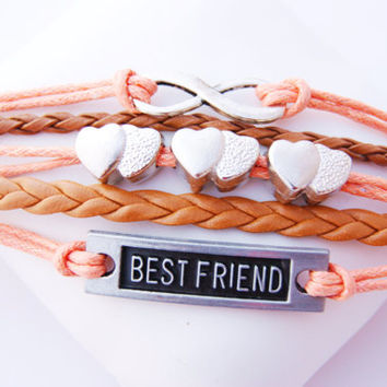5 Strand Coral Peach Best Friend Heart Infinity Faux Leather Cord Bracelet (Adjustable Sizing)