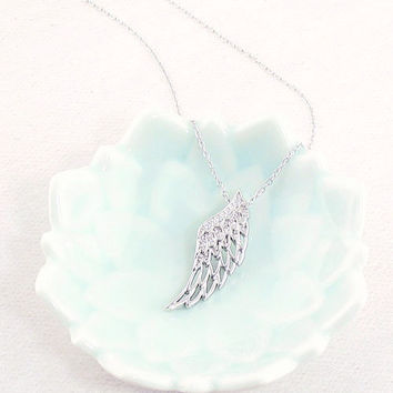 Crystal Angel Wing Necklace in Sterling Silver