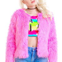 Flamingo Pink Faux Fur Coat