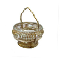 Candy basket. Vintage candy dish. Candy bowl. Glass candy dish. Trinket bowl. Pedestal candy dish. Gold candy dish. Handled candy dish.