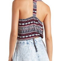 Tribal Print T-Back Crop Top by Charlotte Russe