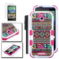 Jamaican Tribal HTC Desire 510 case Dual Layer Verge Hybrid Soft Silicone Cover Hard Plastic Case + Clear LCD Screen Protector + Stylus Pen