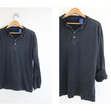 vintage long sleeve faded black henley top. button front shirt. distressed