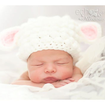 Lamb baby hat Baby Sheep Christmas hat newborn 0-3 month 3-6 month photo prop Handmade Baby Hat White or Gray