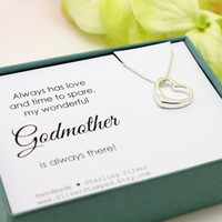 Gift for Godmother baptism gift from godchild, Sterling Silver open heart necklace, christening gifts for godparents