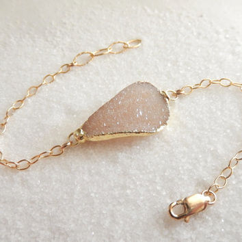 Champagne Druzy Bracelet 14K Gold Cream Pear Teardrop Triangle Crystal Quartz Drusy Stone Agate Gold Filled Chain Free Shipping Jewelry