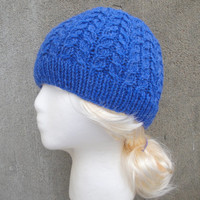 Cable Knit Hat, Men & Women, Bright Blue, Beanie Cap