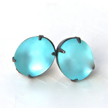 Aqua Blue Oval Vintage Frosted Ice Blue Matte Frosted Glass Vintage Antiqued Brass Rhinestone Post Earrings, Bridal