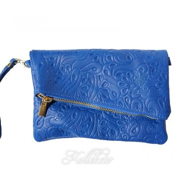 Italian Folded Blue Genuine Leather Clutch with Pattern