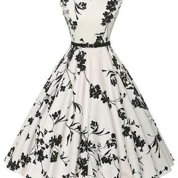 Atomic 1950's Black and White Floral Pin Up Dress
