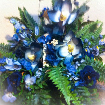 Handmade Artificial Floral Basket Arrangement: Wicker Basket Filled with Artificial Fern Blue and Purple Flowers with White Accents