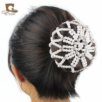 Lady Elastic hair net handmade crochet pearl  hair Snood Net Ballet Bun Hair Covers Ornament new