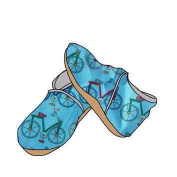 Free shipping, Gender Neutral suede sole booties, Bikes Print