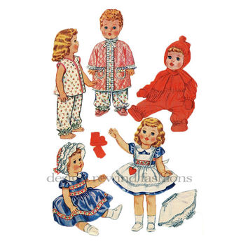 "60s Doll Clothes Pattern Betsy Wetsy Penafore Robe Dress Pajamas Snowsuit Wardrobe 15 - 17"" Dolls McCalls 2412 Vintage Craft Sewing Patterns"