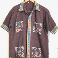 Vintage Guatemalan cotton woven short sleeved shirt nice colors with birds