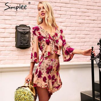 Simplee V neck ruffle print rompers womens jumpsuit Smocking two piece playsuit 2018 Beach casual floral boho summer jumpsuit