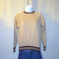 Vintage 70s RINGER BLANK Plain Soft Cotton Acrylic Hip Stylish Women Small Sweater Jumper SWEATSHIRT