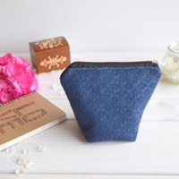 Blue charger bag with zipper, Charger case, Cosmetic pouch, Make Up Pouch, Toiletery bag, Project bag, Travel bag, Coin Purse