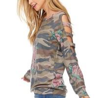 Camo and Floral Top