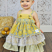 Girls Vintage Yellow and Grey Damask Apron Knot Dress- Frilly Lace Apron- Baby Girl Headband- Infant Dress- Toddler Dress- Easter
