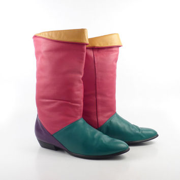 Boots Colorblock Flat Vintage 1980s Purple Green Red Yellow Joyce Slouch Women's size 7 1/2