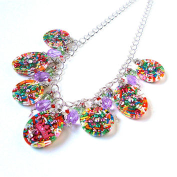 Resin candy charm necklace - candy necklace - statement necklace - colorful necklace - kawaii necklace by Sparkle City Jewelry