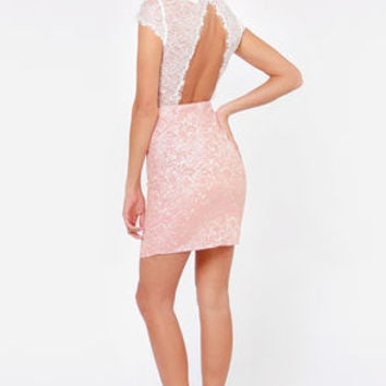 Ooh La Lacy Ivory and Pink Lace Dress