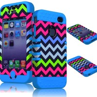 BasTexWireless Silicone Hard Shell Case for Apple iPhone 4/4s, Chevron: Blue / Colorful
