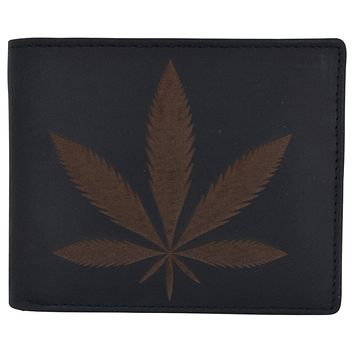 Genuine Leather RFID Bifold Mens Marijuana Leaf Logo Wallet
