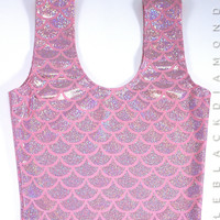 Pearl Pink Siren Scale Crop Top Tank