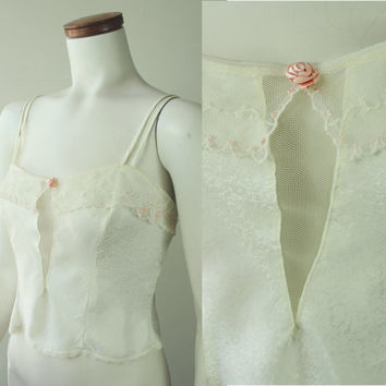 20s Style - Vintage - Floral - Ivory Satin - See Through Mesh V - Crochet Lace - Rose - Spaghetti Strap - Camisole - Tank Top - Lingerie