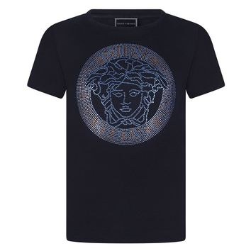 Versace Girls Navy Blue Studded Medusa T-shirt