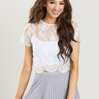 Jolee Ivory-White Short Sleeve Lace Top