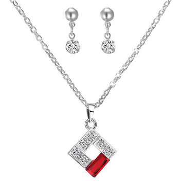 A Suit of  Rhinestone Hollowed Square Necklace and Earrings