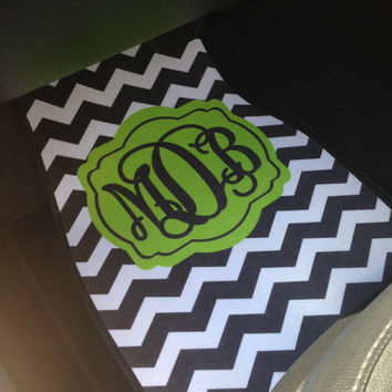 Car Mats Chevron Personalized Monogrammed Floor Car Mat Initial Lime Green Black