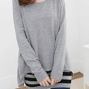 Grey Long Sleeve Blouse with Sleeveless Striped Dress