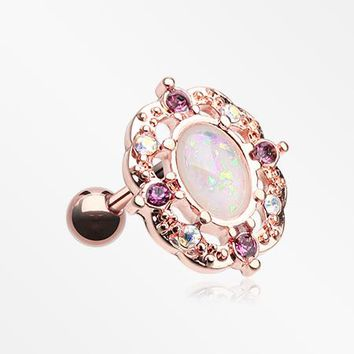 Rose Gold Grand Florid Opal Cartilage Tragus Earring