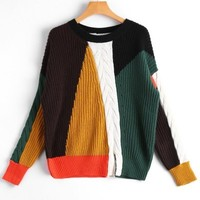 Slit Color Block Cable Knit Sweater