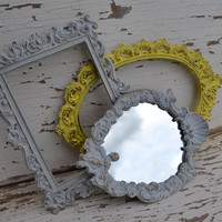 Vintage metal frames Upcycled grey yellow frames and mirror modern home decor