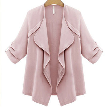 Solid Color Ruched Sleeve Coat