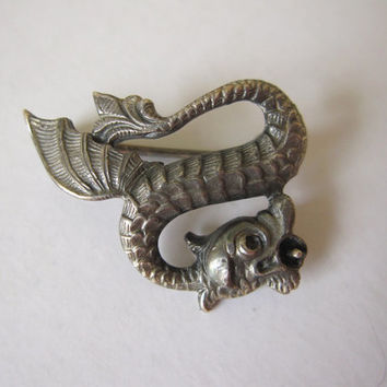 Vintage Victorian antique sterling silver figural dragon sea serpent snake nautical steampunk Fishel Nessler pin brooch