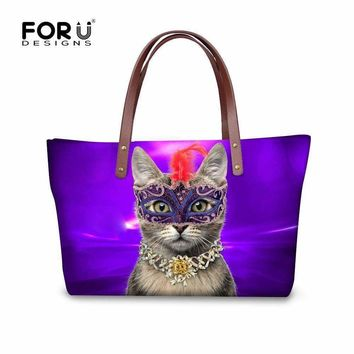 Stylish Women Brand Shoulder Bags High Quality Female Casual Totes Bag Animal Mask Cat Printed Zipper Handbag Large Bolsos Mujer