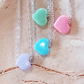 Sideways Heart Necklace - Kawaii Jewelry, Pastel Beads