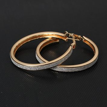 Vintage Gold Color Big Circle Hoop Earrings