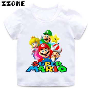 Super Mario party nes switch Boys and Girls Cartoon  Print T shirt Kids  Bros Funny Clothes Baby Summer Short Sleeve White T-shirt,HKP5222 AT_80_8