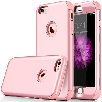 Iphone 6 Case Dudetop 3 In 1 Shockproof Scratch Resistant Resist Cracking Armor Protective Cover Easy Grip Design With Tempered Glass Screen Protector For Apple Iphone 6s 4.7' Inch ( Rose Gold )