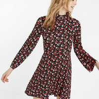 Floral Print Bell Sleeve Mock Neck Fit And Flare Dress