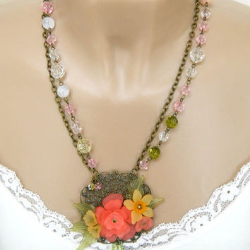 Pink Floral Pendant Necklace Handcrafted Vintage Jewelry Beaded