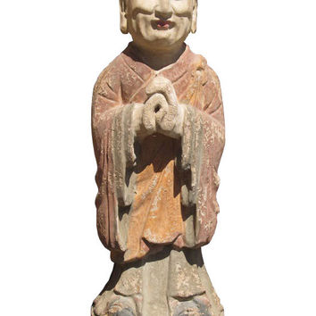 Chinese Antique Wood Hand Carving Standing Monk Statue wk2868s