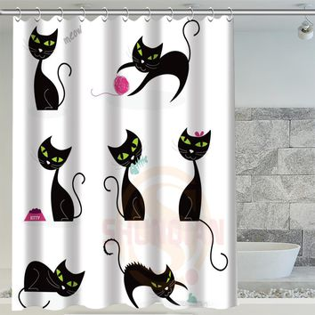 Black Cat Custom Waterproof Shower Curtain Bathroom Decor